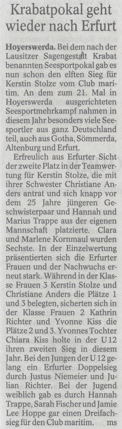 Krabatpokal geht wieder nach Erfurt